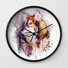 Watercolor Wolf Portrait Wall Clock