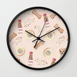 Chihuahuas and donuts Wall Clock