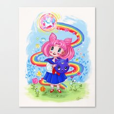 Retro Chibi Moon Canvas Print