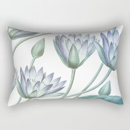 Water Lily Blue Rectangular Pillow