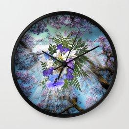 Jacaranda Blooms & Lily Wedding Bouquet Wall Clock