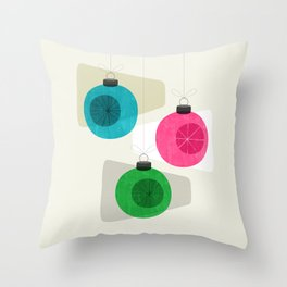 Retro Holiday Baubles Throw Pillow