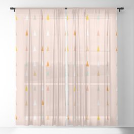 Mini retro tree pattern - Peachy Sheer Curtain