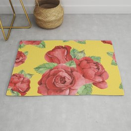 Colorful Vintage Watercolor Red Rose Rug