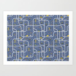 Under Construction Digger Vehicles Blue Pattern Art Print