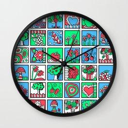 Apples Flowers and Mushrooms Mini Doodle Art Wall Clock