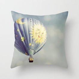 Moon and Stars Hot Air Balloon Throw Pillow