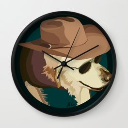 Golden Retriever in a Cowboy Hat Wall Clock