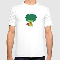 Super Broccoli White Mens Fitted Tee MEDIUM