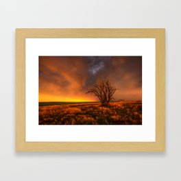 Fascinations - Warm Light and Rumbles of Thunder in Oklahoma Framed Art Print