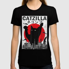 Catzilla Japanese Sunset Style Cat Kitten Lover T-Shirt T-shirt