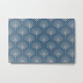Beige Polka Dot Scallop Pattern on Blue Pairs To 2020 Color of the Year Chinese Porcelain PPG1160-6 Metal Print
