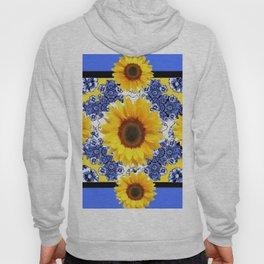 Abstracted  Fuchsia Dahlias Geometric Stylized Floral Grey Hoody