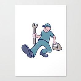 Mechanic Spanner Foot Forward Cartoon Canvas Print