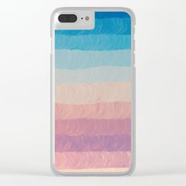 Geometrical navy blue pink watercolor ombre stripes Clear iPhone Case