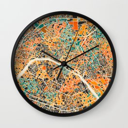Paris mosaic map #2 Wall Clock