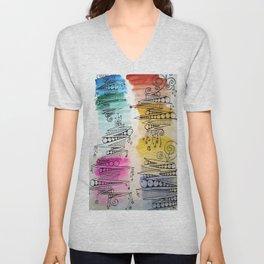 Colorful Zip Line Pattern Unisex V-Neck