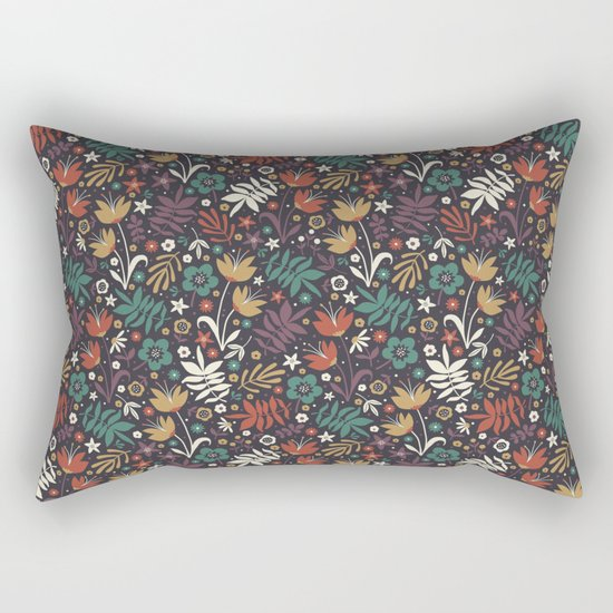 Midnight Florals Rectangular Pillow