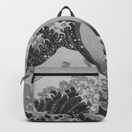 Black & White Japanese Great Wave off Kanagawa by Hokusai Backpack