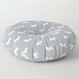 Basset Hound silhouette grey and white dog art dog breed pattern simple minimal Floor Pillow