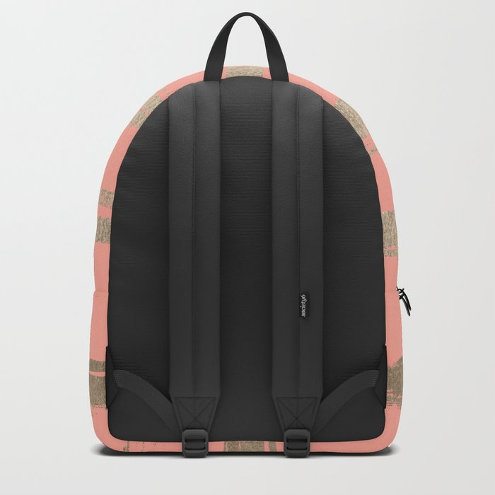 Simply Brushed Stripe in White Gold Sands on Salmon Pink Backpack