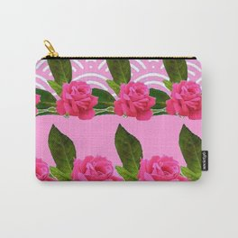 CERISE PINK GARDEN ROSES PATTERN ABSTRACT ART Carry-All Pouch