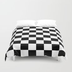 Checker Cross Squares Black & White Duvet Cover