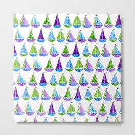 Watercolor colorful boats Metal Print