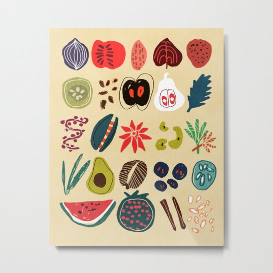 Fruit and Spice Rack Metal Print