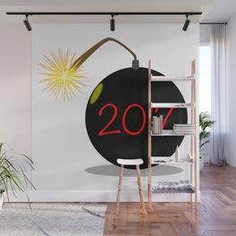 Cartoon 2017 New Year Bomb Wall Mural