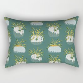 Pom Pom Flowers in Pumpkin Gourd for Fall and Thanksgiving - teal Rectangular Pillow