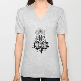 Buddha in lotus position Unisex V-Neck