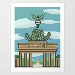 Pixel Art Brandenburg Gate Art Print
