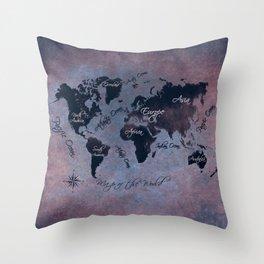 world map 141 red blue #worldmap #map Throw Pillow