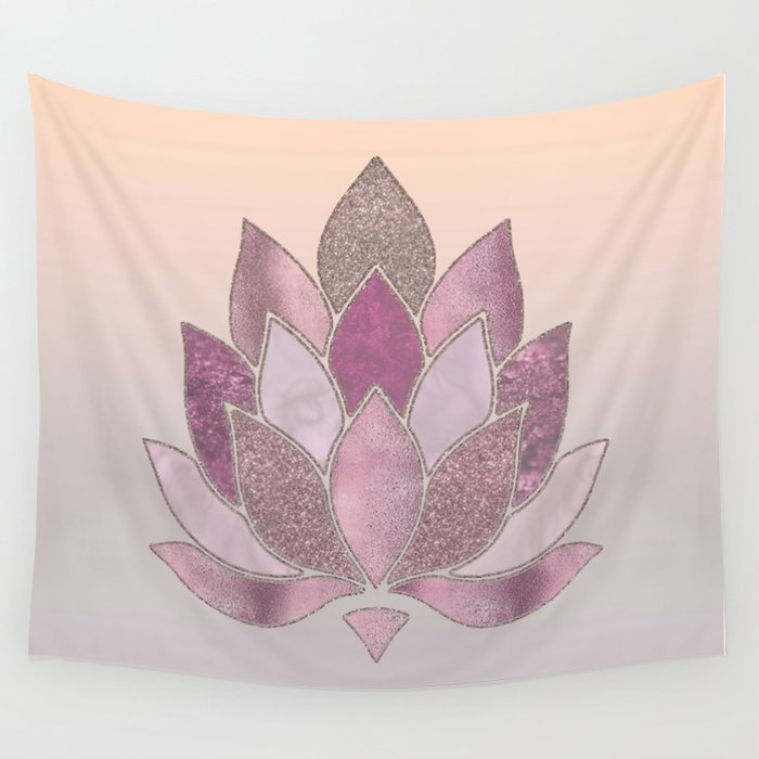 Elegant Glamorous Pink Rose Gold Lotus Flower Wall Tapestry