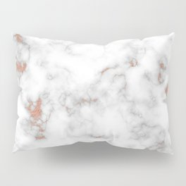 Rose gold gray and white marble Pillow Sham