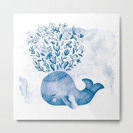 Cute Watercolor Whale Metal Print