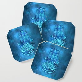 Hamsa Hand Magic Eye Blue Watercolor Art Coaster