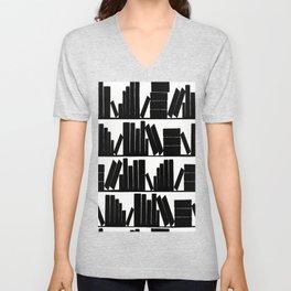 Library Book Shelves, black and white Unisex V-Neck