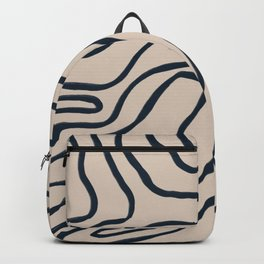 Topographic Map / Nude & Dark Blue Backpack