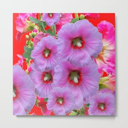 LILAC HOLLYHOCKS WITH RED COLOR ACCENTS Metal Print