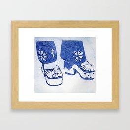 Blue Retro Sandals Framed Art Print
