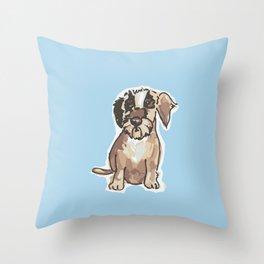 Frici Dachshund blue Throw Pillow