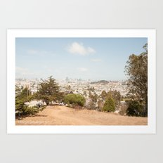Bernal Heights viewing platform : panoramic view over San Francisco Art Print