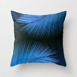 Palm leaf synchronicity - metallic blue Throw Pillow