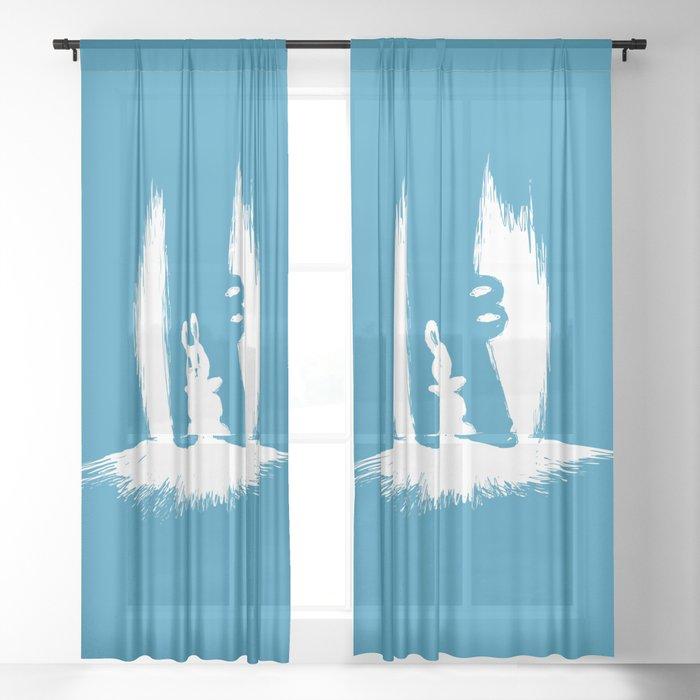 cornered! (bunny and crocodile) Sheer Curtain