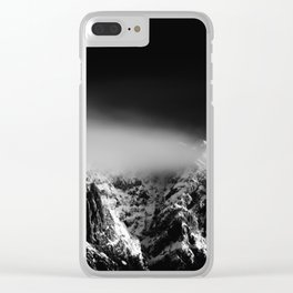 Black and white long exposure of clouds above mountain Clear iPhone Case
