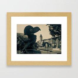 Kansas University Skyline along Jayhawk Boulevard in Sepia Framed Art Print