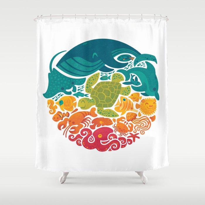 Aquatic Rainbow White Shower Curtain By Waynem