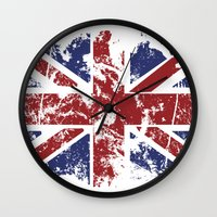 uk Wall Clocks featuring Grunge UK by Sitchko Igor